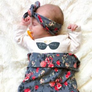 Grey Floral Swaddle & Headband Set