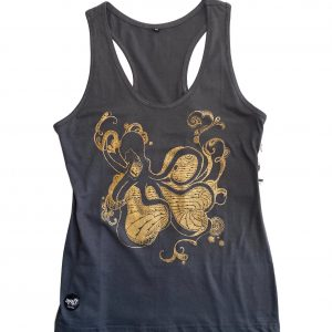 100% Handmade Organic Cotton Octopus Gray Tank