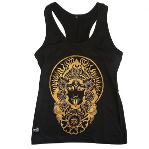 100% Handmade Organic Cotton Gold Kali Black Tank