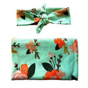 Mint Floral Swaddle & Headband Set